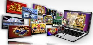 Strictly Slots Extra Free Spins Bonus displaying screenshot of multiple mobile online slot games and laptop