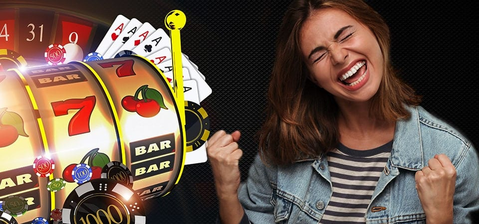 New Online Slots Site | Strictly Slots Extra Free Spins Bonus! | happy women smilling becuase she won at online mobile casino slots