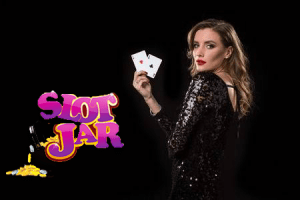 Sllots.co.uk | Slotjar Casino Promotion | brunette black dress with playing cards