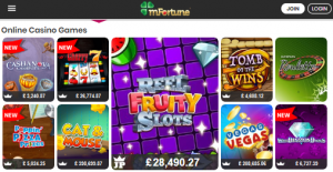 mobile casino games on mfortunes screenshot