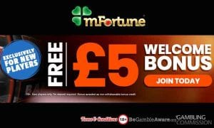 £5 no deposit bonus |Sllots.co.uk |Online Slots Uk mFortunes Welcome Bonus